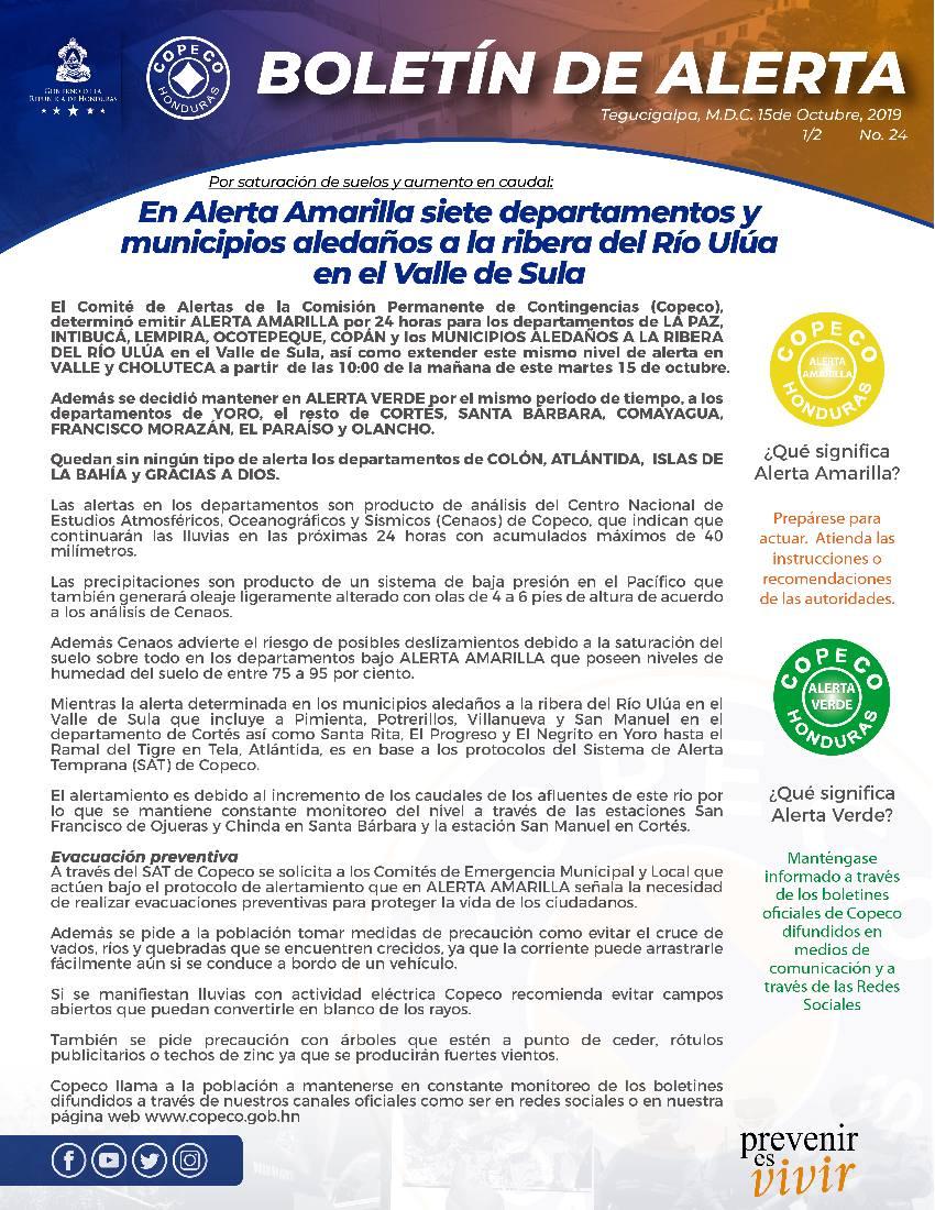 En alerta amarilla siete departamentos de Honduras