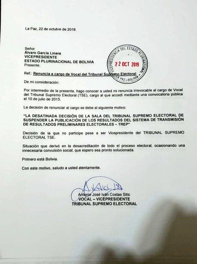 Renuncia el vicepresidente del Tribunal Electoral de Bolivia