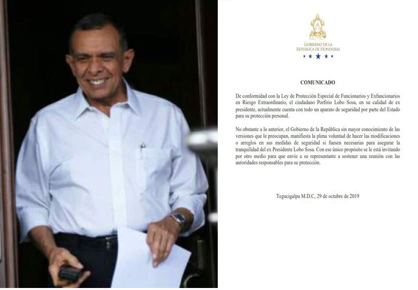 Expresidente Lobo denuncia plan para matarlo y Gobierno revela que cuenta con seguridad del Estado