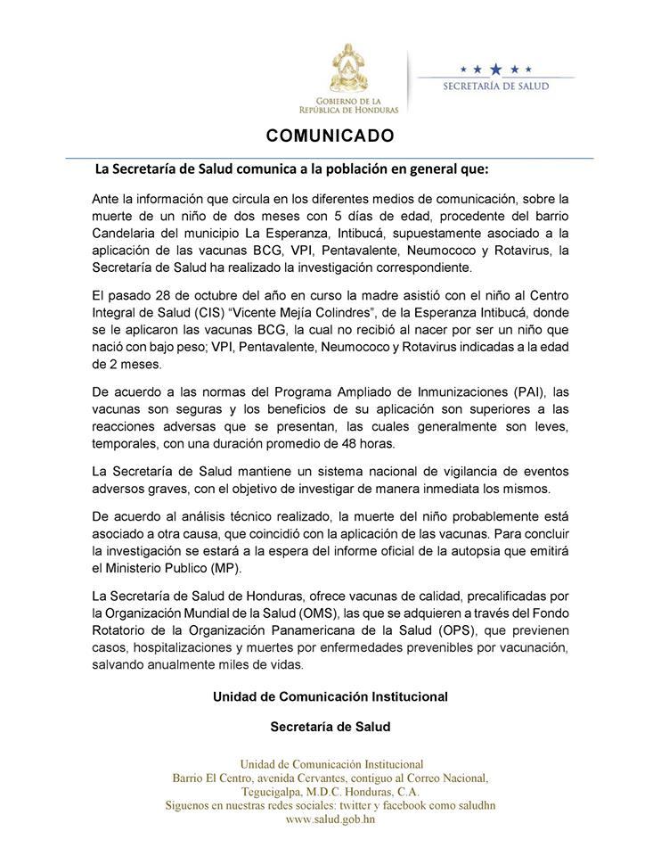 Comunicado Secretaría de Salud.