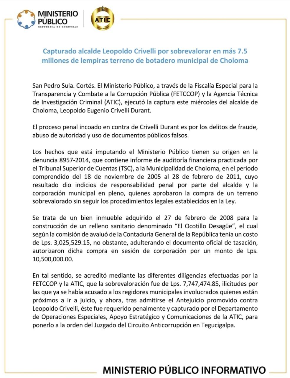 Por tres delitos arrestan al alcalde de Choloma, Cortés, Leopoldo Crivelli