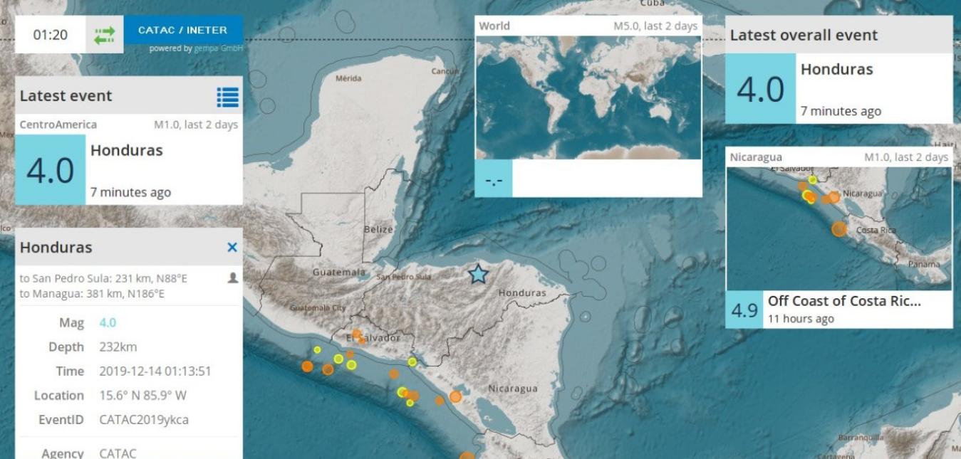 Sismo de 4.0 grados se registró en el sur de Trujillo, Honduras