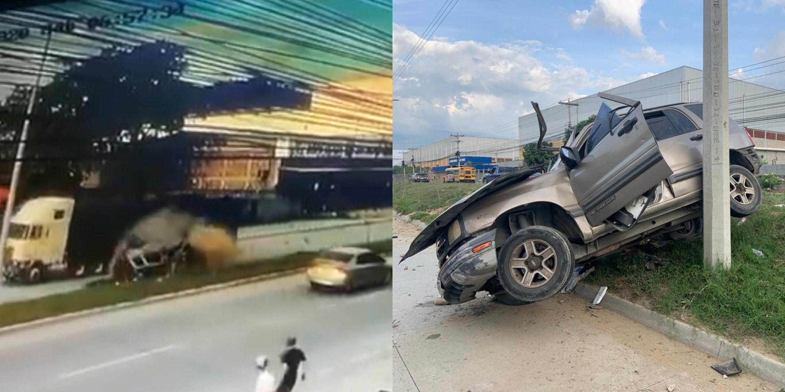 Vídeo capta a una camioneta dar vueltas tras impacto de rastra en San Pedro Sula