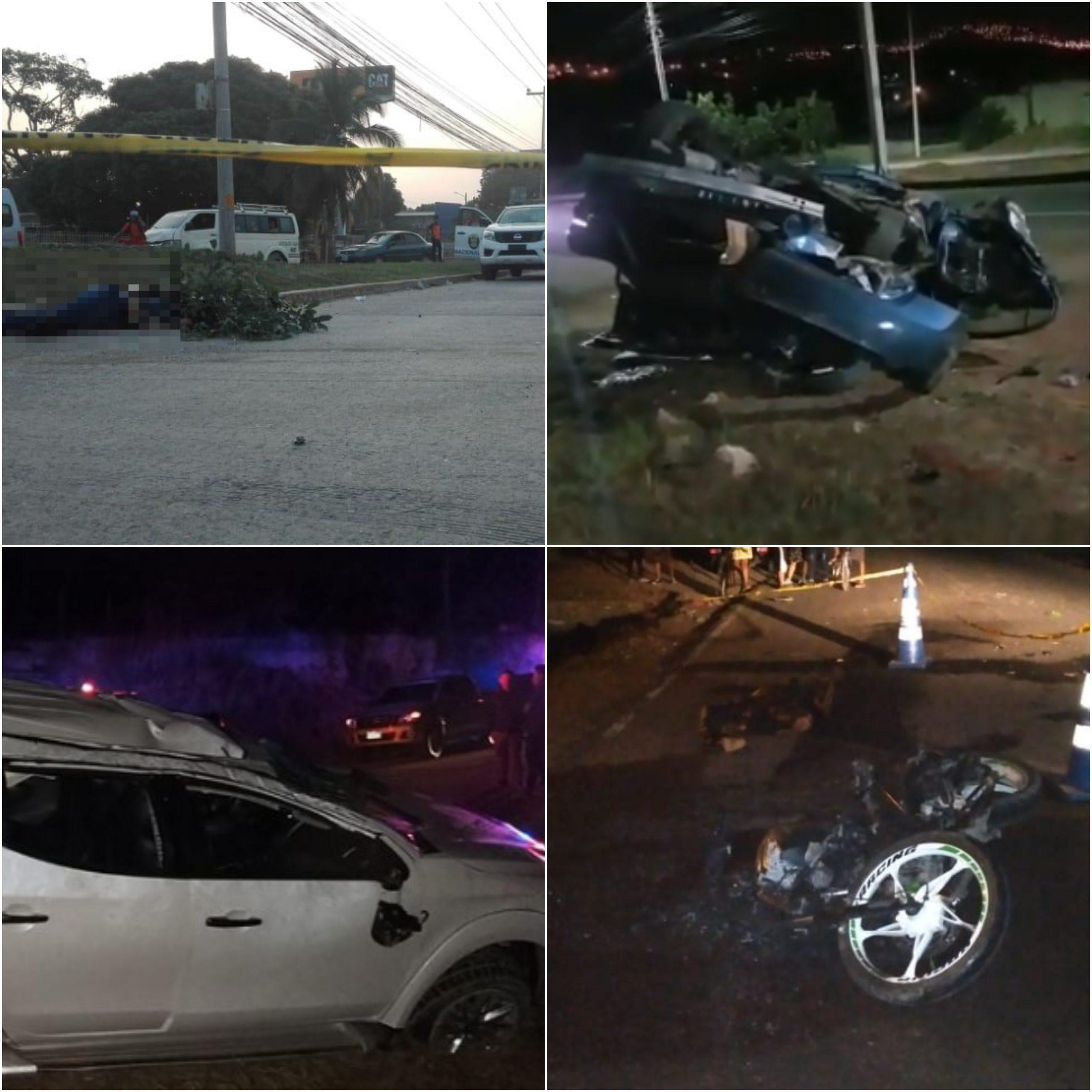 Tres muertos y dos heridos han dejado este sábado varios accidentes de tránsito en Honduras