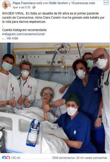 Imagen viral: Italiana de 95 años curada del coronavirus