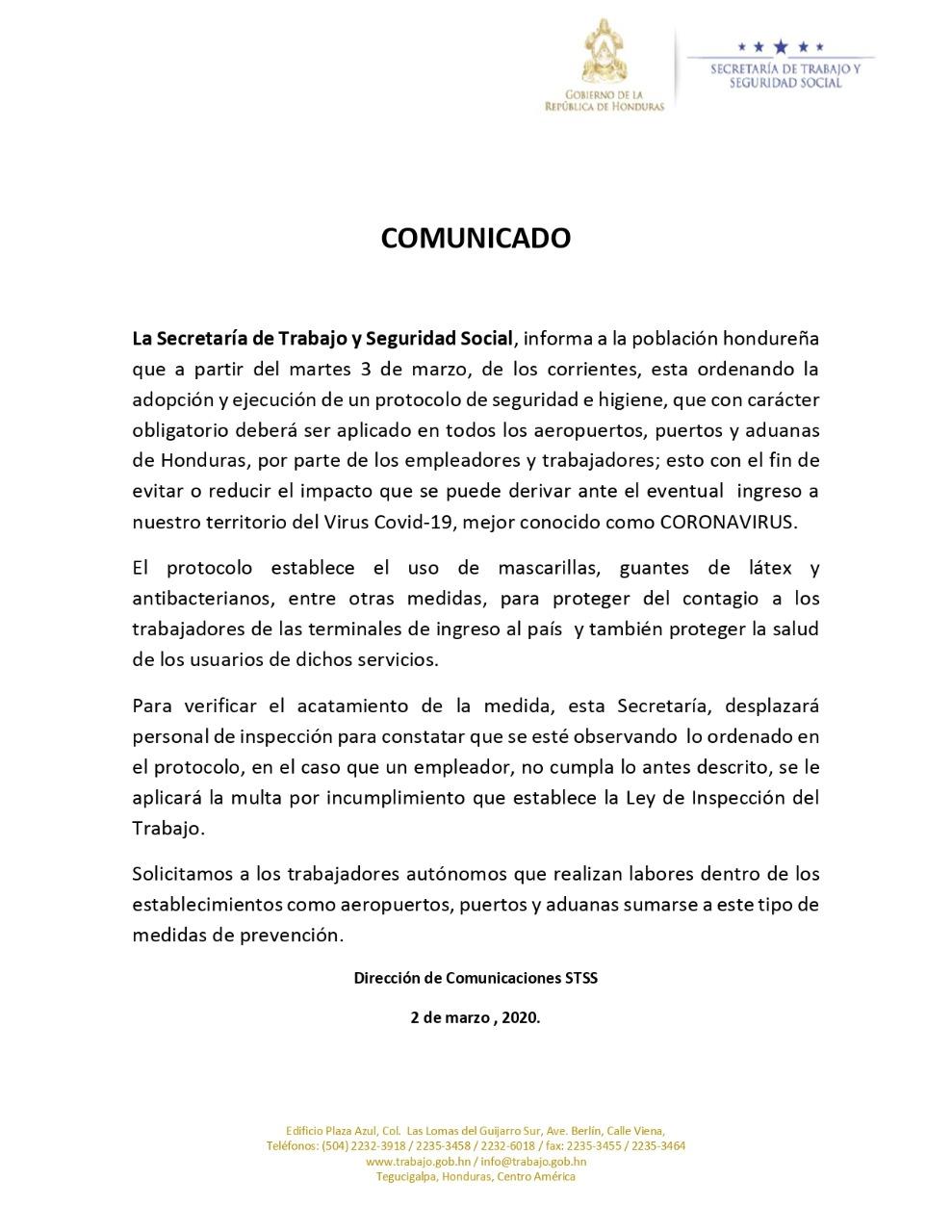 Refuerzan medidas de control en aeropuertos y fronteras de Honduras para prevenir el coronavirus