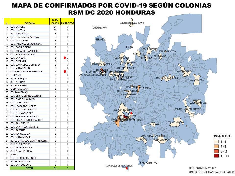 Colonias afectadas por covid-19.