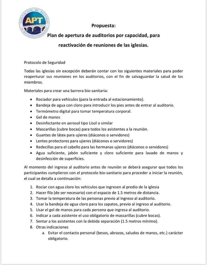 Este protocolo de bioseguridad deberán seguir las Iglesias para su reactivación en crisis por covid-19
