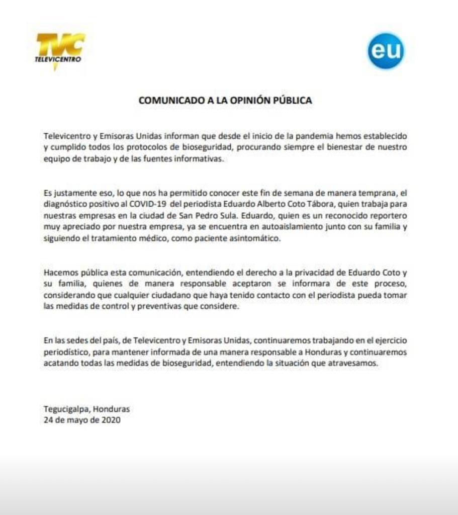 TVC y EU emiten comunicado.