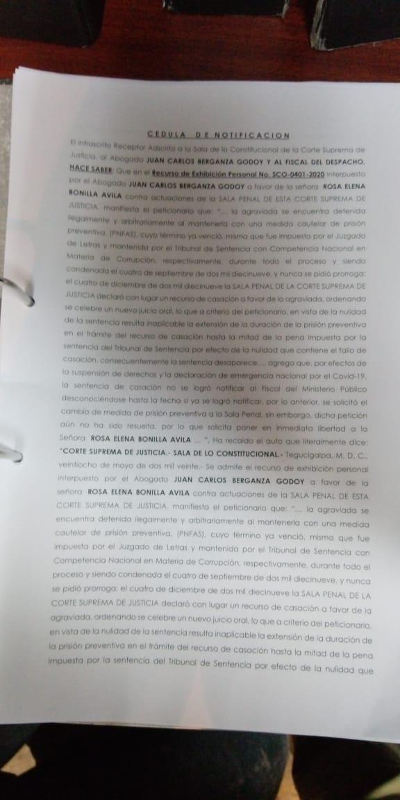Defensa de exprimera dama Rosa de Lobo exige su inmediata libertad