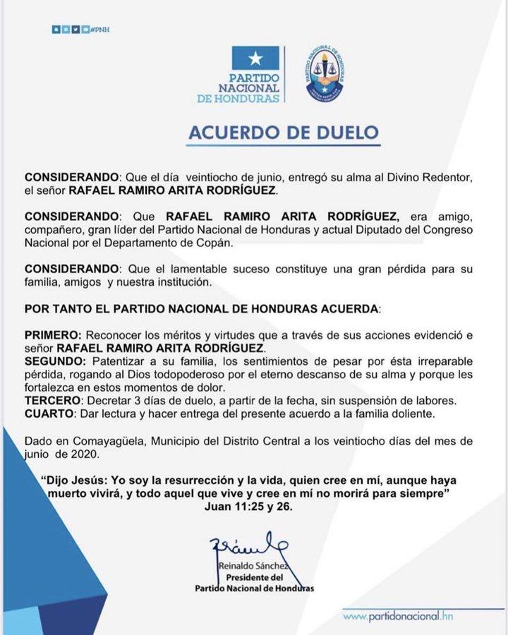 Honduras registra el primer diputado fallecido por covid-19, Rafael Arita