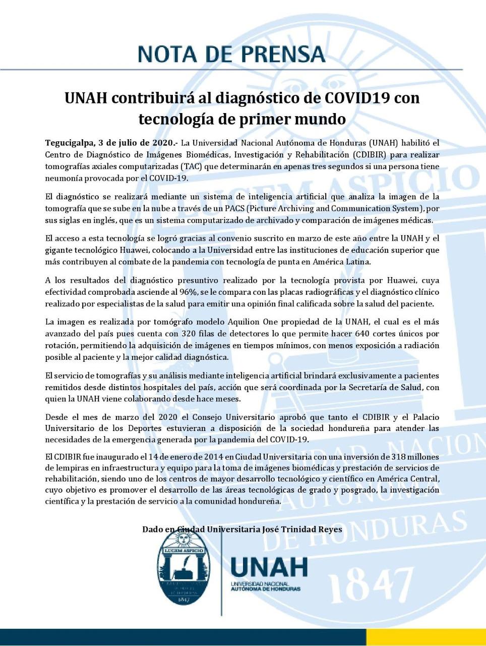 En imágenes, el centro que habilitó la UNAH para determinar en tres segundos si una persona tiene neumonía por covid-19
