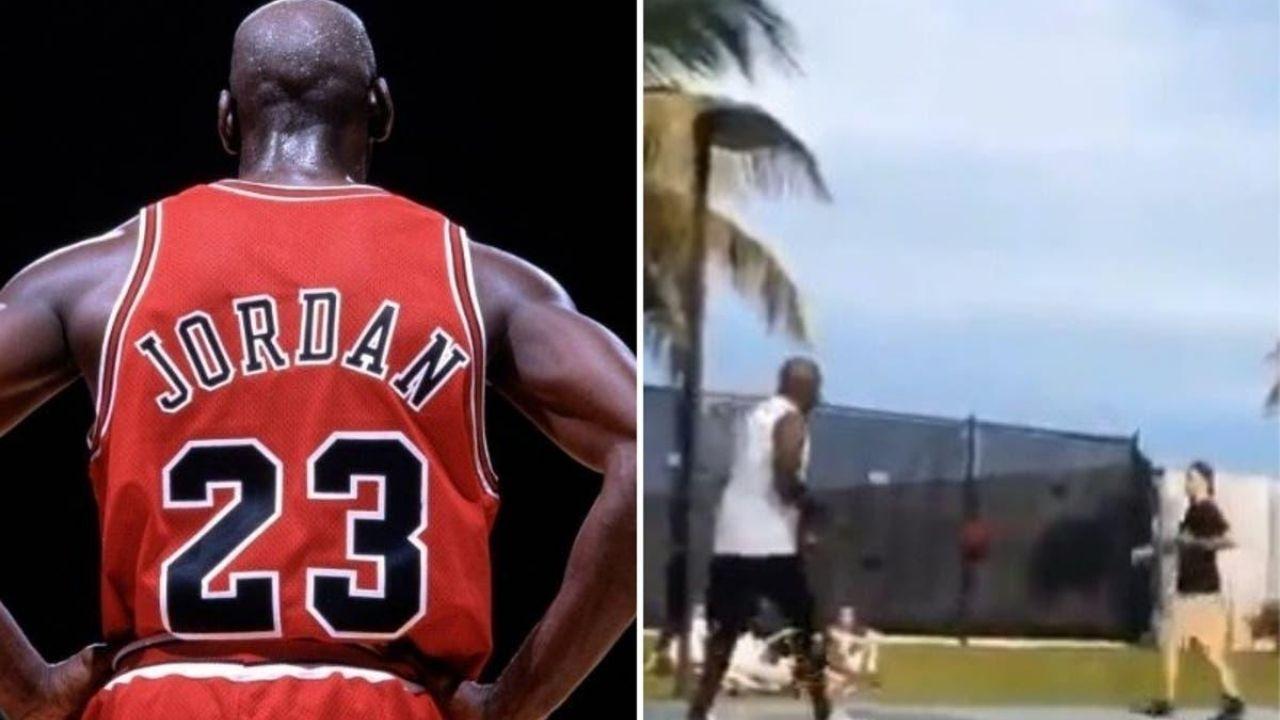 Captan a Michael Jordan jugando baloncesto callejero y burlándose de sus jóvenes rivales tras encestar