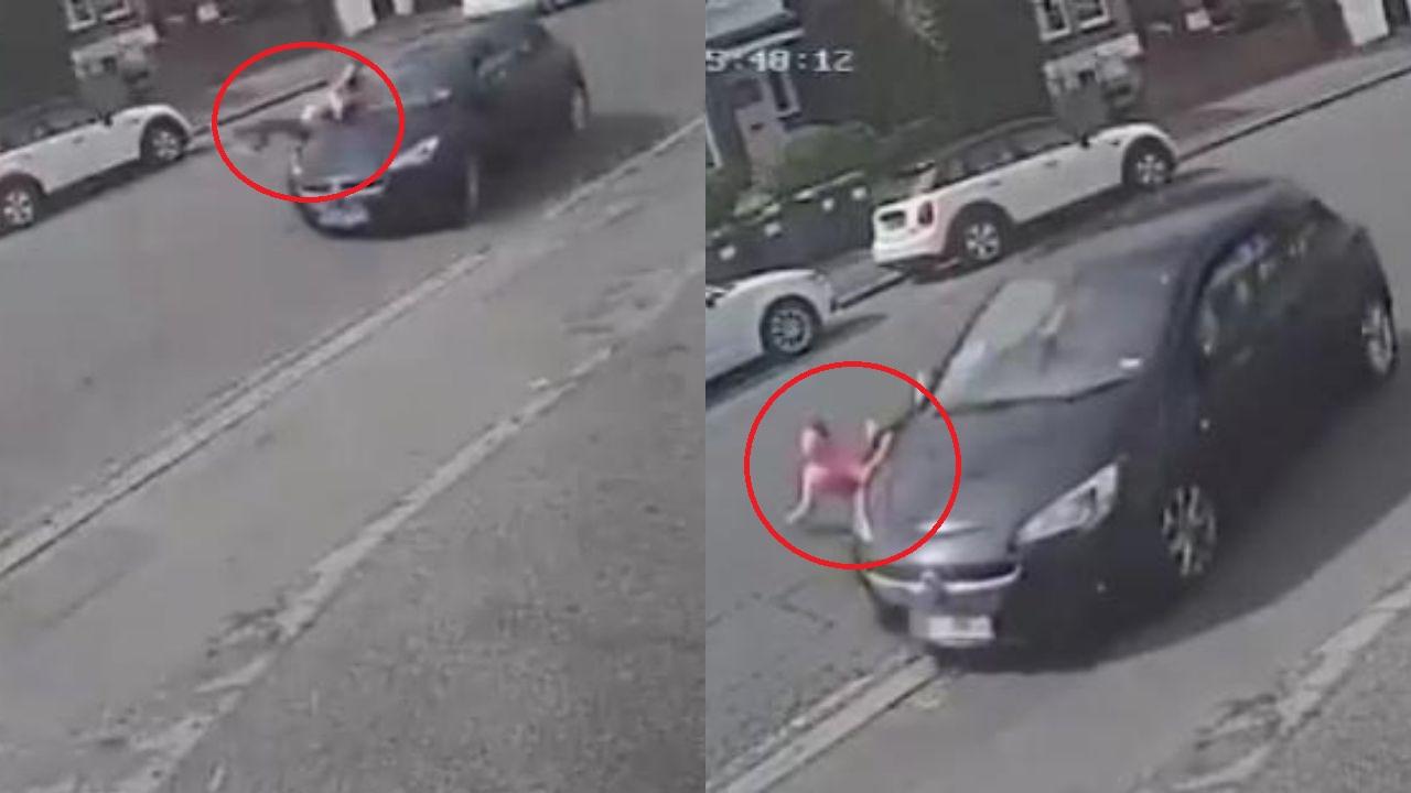 Conductor atropella brutalmente a niña y ella sorprende al levantarse del pavimento como si nada pasó