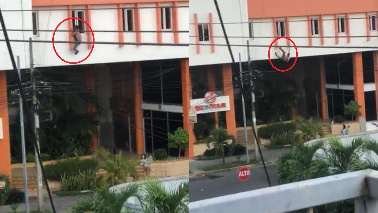 Con un celular graban a joven que se lanzó del tercer piso de un edificio en San Pedro Sula