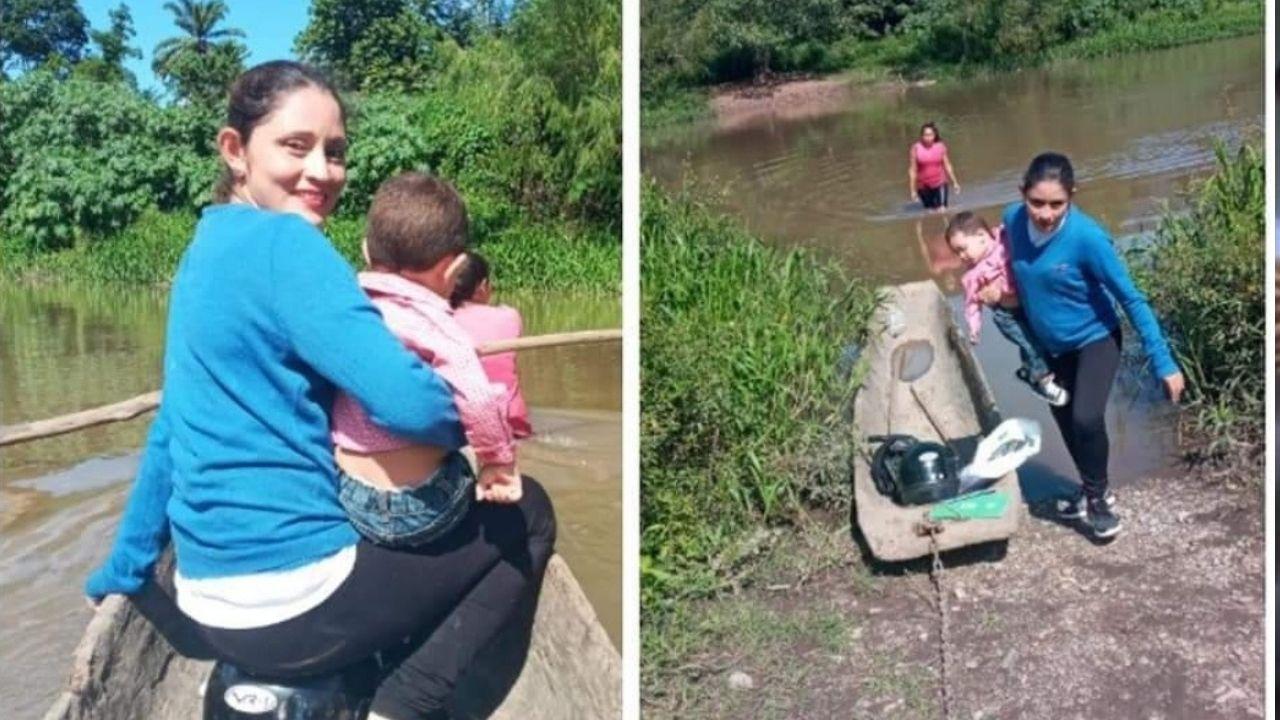 Maestra hondureña recorre hora y media en moto y canoa con su hijo en brazos para llegar a su  centro educativo