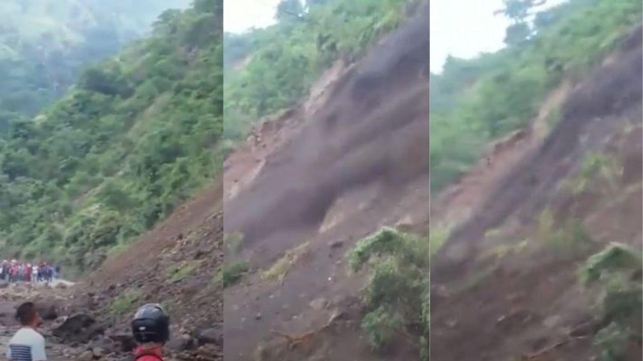 Captan momento exacto de un impresionante derrumbe en la zona norte de Honduras