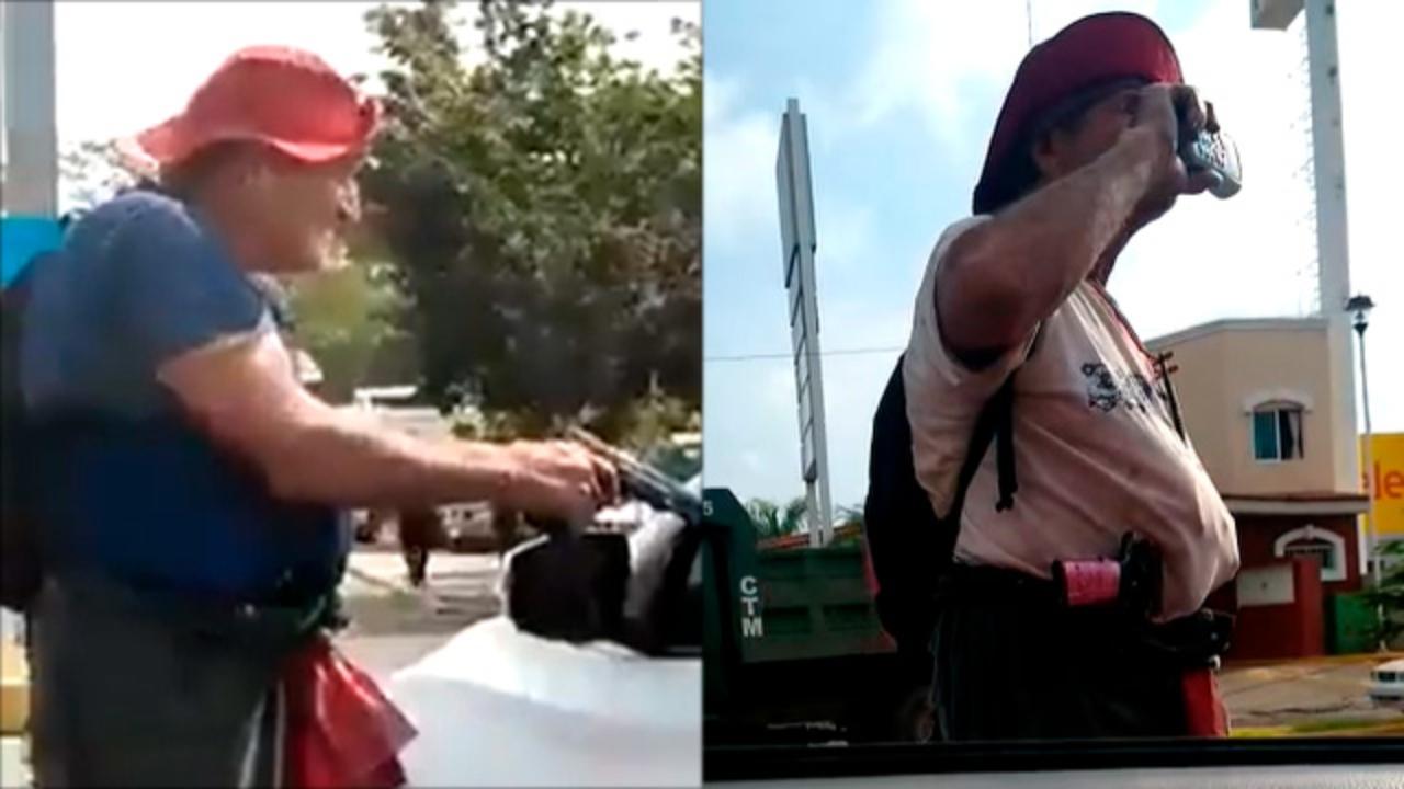 ¡A mano armada! Hombre pide limosna en México