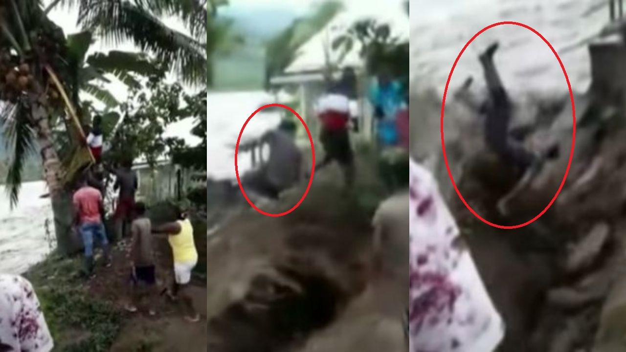 Hombre es arrastrado por un río, cuando bajaba cocos para unos niños en Colombia, el video es impactante
