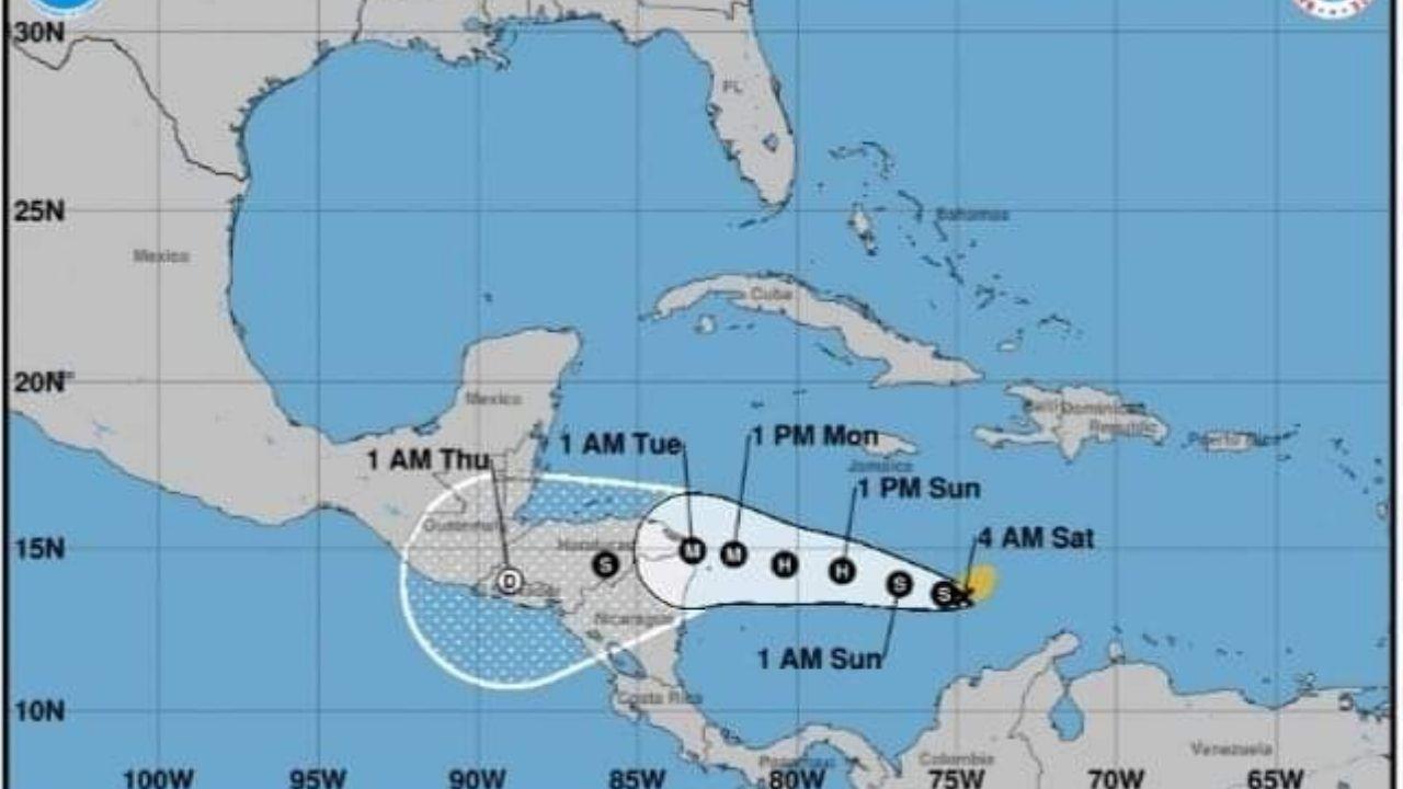 A 920 kilómetros al sureste del Cabo de Gracias a Dios se encuentra la tormenta tropical Iota
