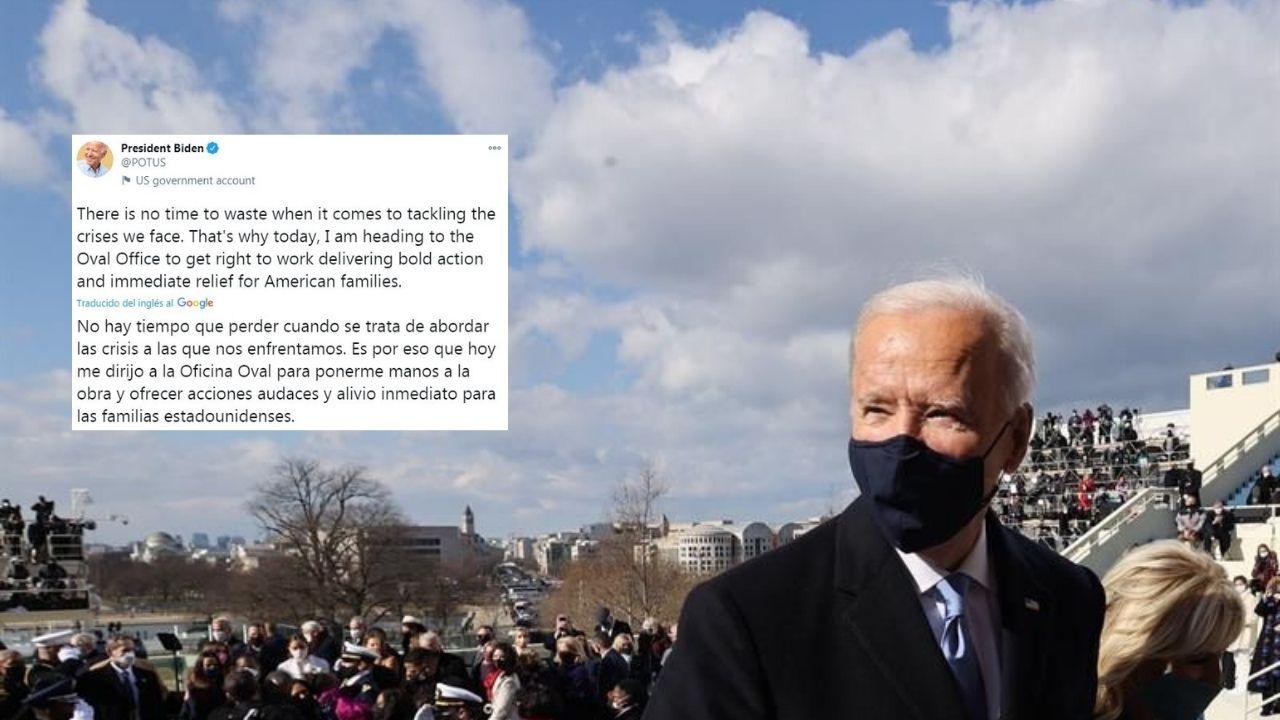 'No hay tiempo que perder', el primer tuit de Biden como presidente