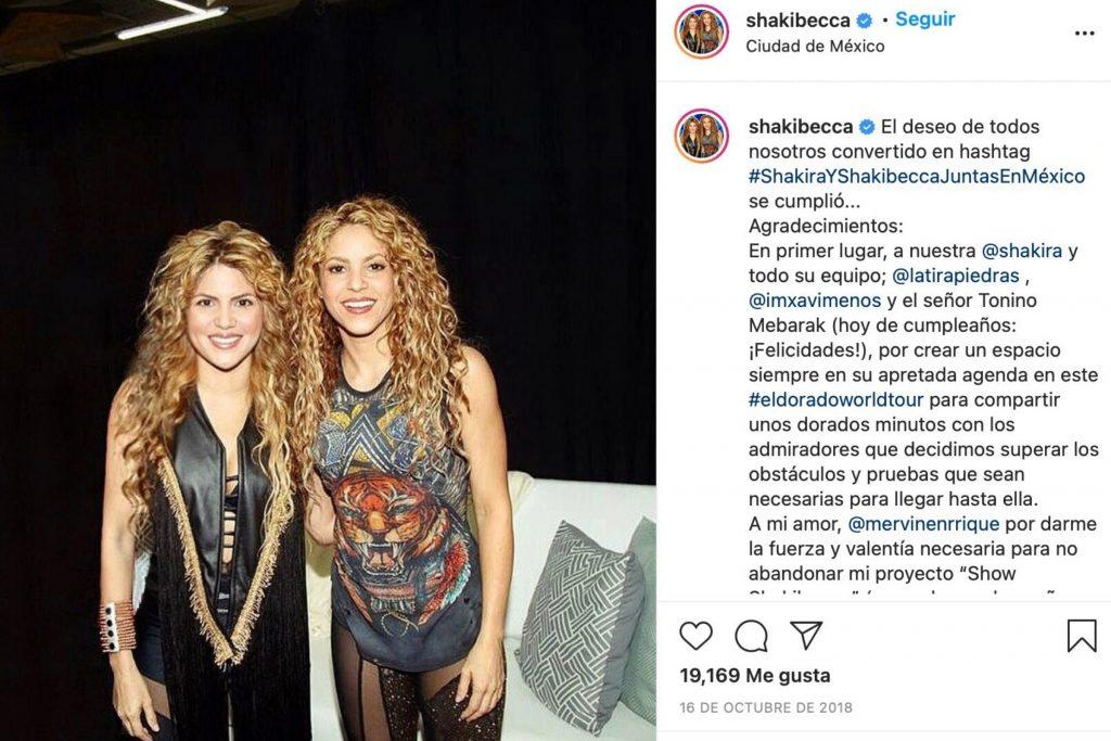 Rebeca Maiellano junto a Shakira
