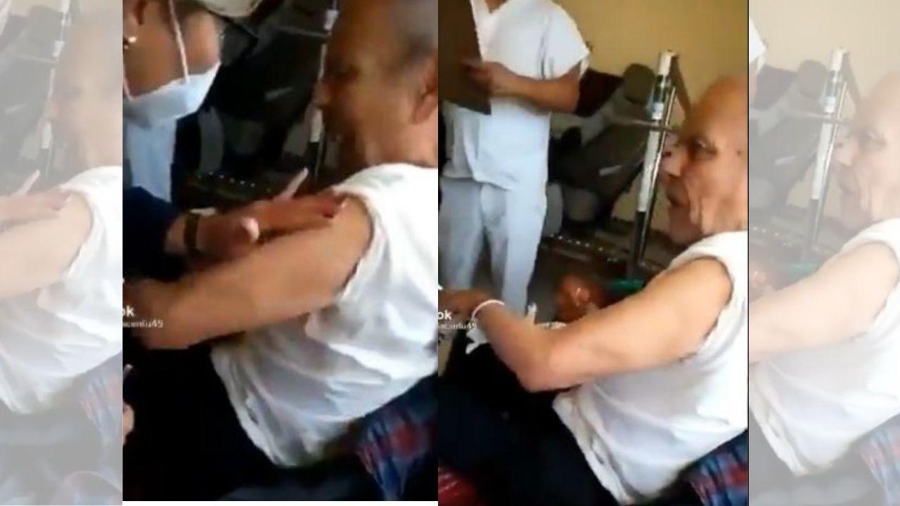 ¡Tienes que verlo! Abuelito reacciona enojado tras recibir vacuna contra el covid: 'pícale y no estés chingando'