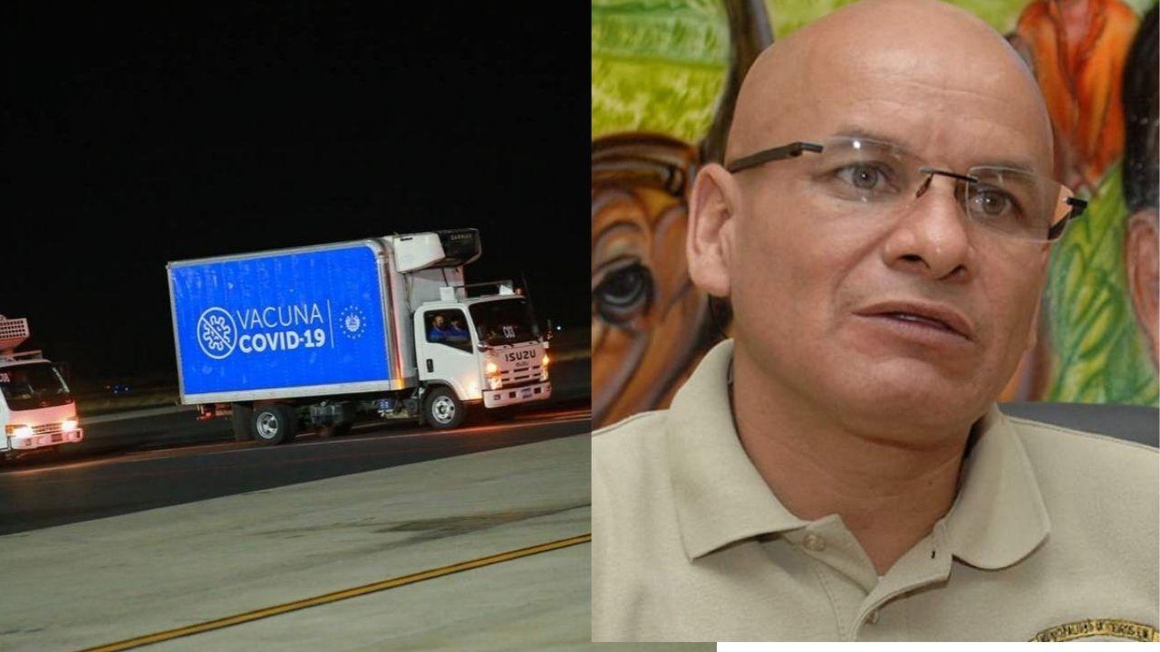 Alcalde de Cedros solicita a Seguridad custodiar los 14 camiones que traen las vacunas covid donadas por Bukele