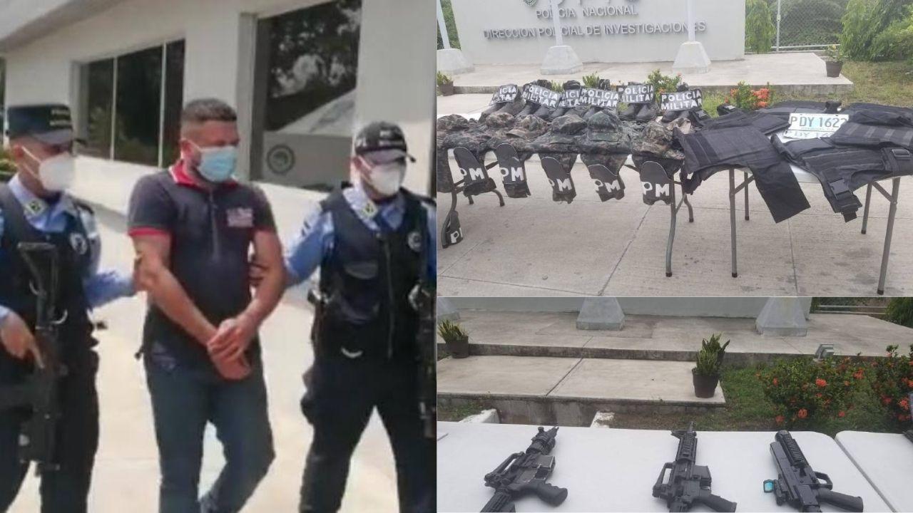Capturan a coordinador logístico de la Pandilla 18 con chalecos antibalas y uniformes completos de uso militar