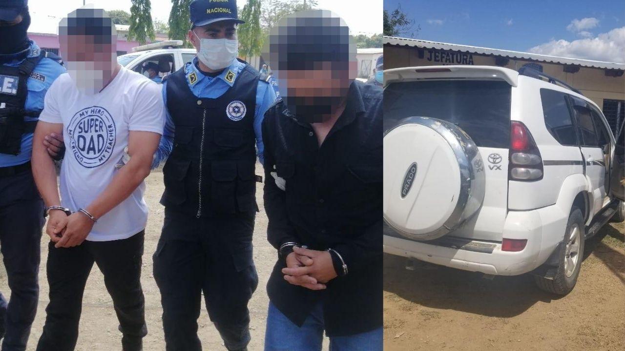 Dos hondureños que se conducían en camioneta de lujo fueron capturados con droga en Orica