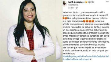 el ultimo mensaje de la doctora iveth zepeda fallecida por covid