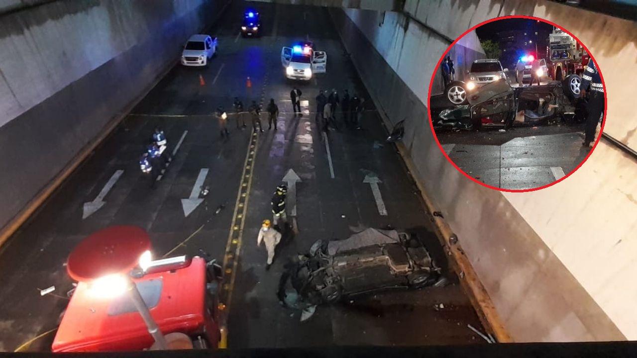 Dos personas mueren luego de que el vehículo en el que se conducían saliera volando y cayera a un túnel en Tegucigalpa ¡Aquí el video!