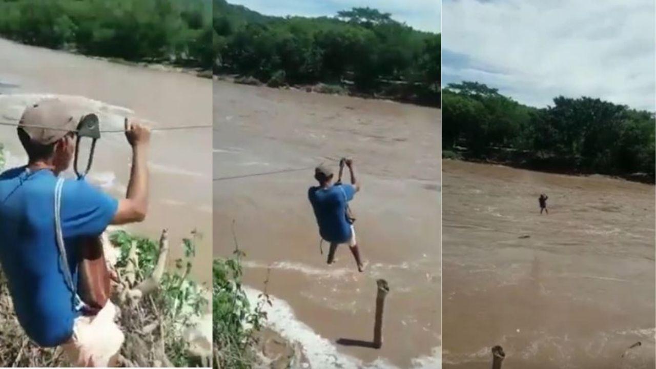 ¡Mira el video! Hondureños arriesgan su vida para cruzar un río en Santa Bárbara en un 'canopy' improvisado