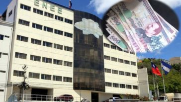 instalaciones de la empresa nacional e energia electrica en tegucigalpa con collage de billetes de 500 lempiras