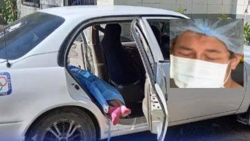 mujer al interior de taxi muere por covid collage de su hijo llorando por la perdida de su madre en honduras