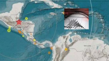 mapa de centroamericana con collage de registro de sismo