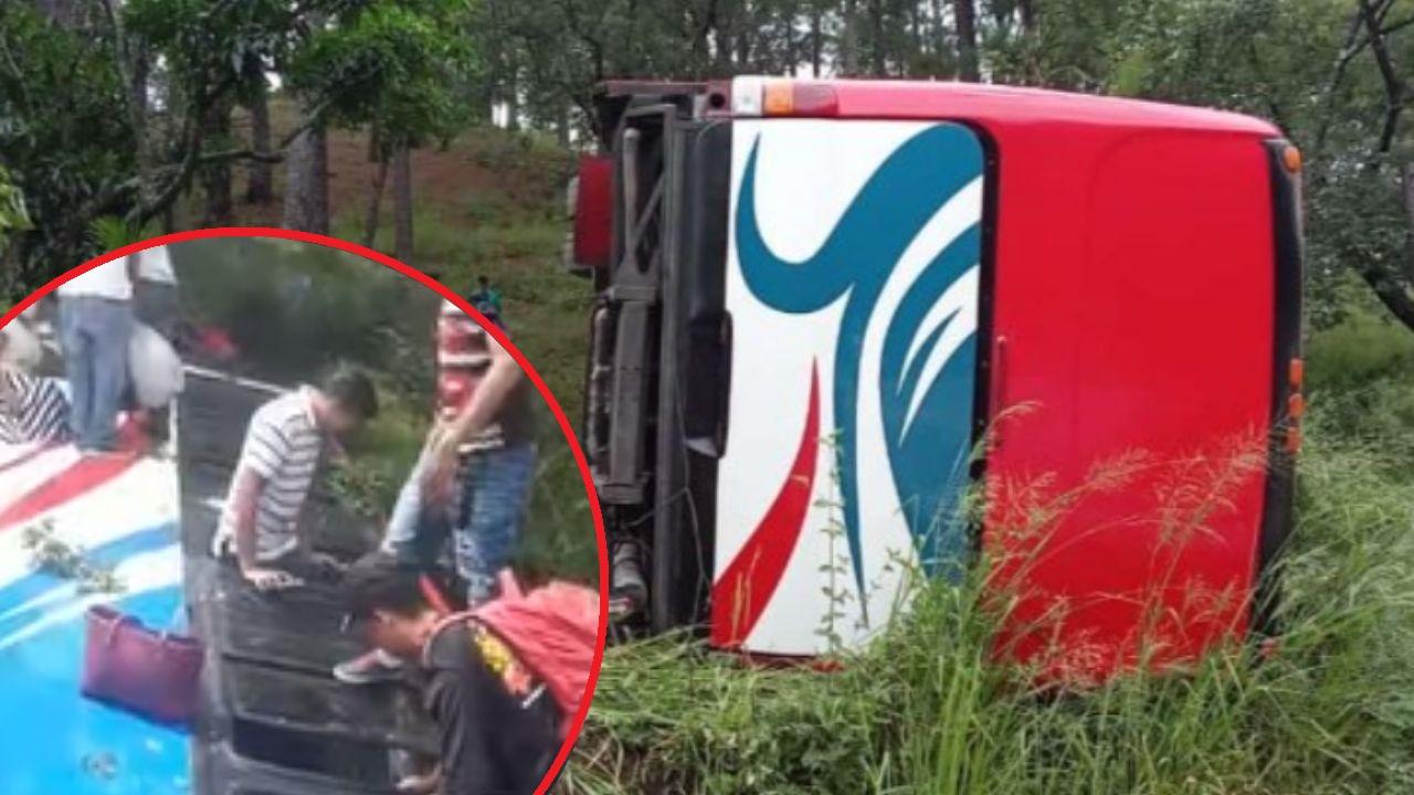 Bus con 40 pasajeros vuelca en la carretera al sur de Honduras: hay varios heridos