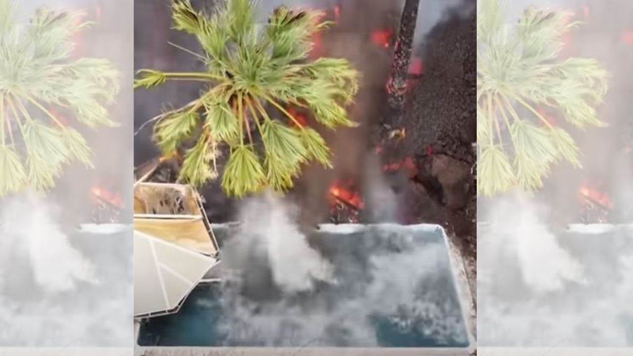Impresionante vídeo muestra cómo lava se vierte en una piscina y hace hervir el agua