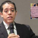 odir fernandez, unidad de investigacion del cna collage mujer con pancarta
