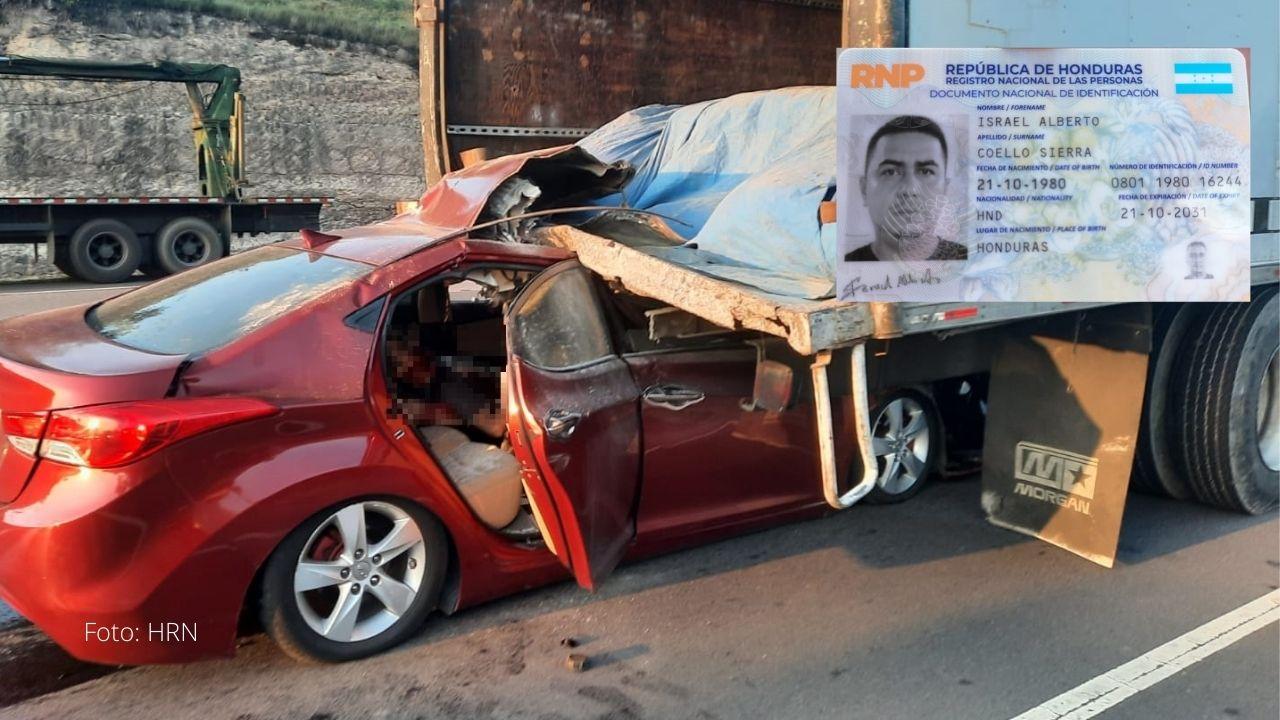 Identifican a hondureño que murió en Amarateca; su vehículo impactó contra pesado camión y así quedó