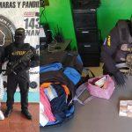 hombre resguardado con policias collage dinero decomisado