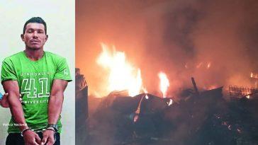 hombre esposado collage imagen de casa quemada en la ceiba