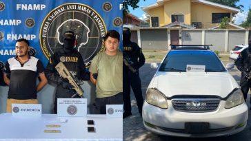 dos personas detenidas collage vehiculo turismo color blanco
