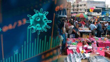 Diseño de la forma de un virus con gráfico de barras y comercio en un mercado de Honduras en alusión al impacto del covid en Honduras