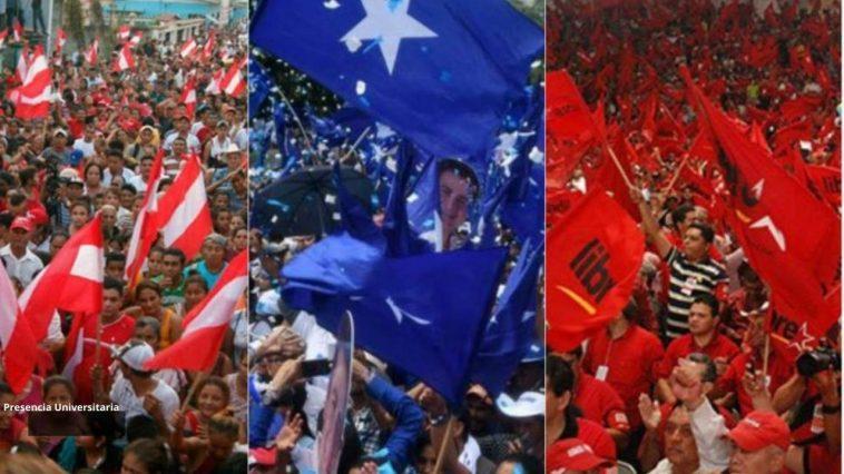 militantes de los tres partidos tradicionales en actividad politica