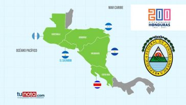 Mapa que demuestra los cinco países centroamericanos