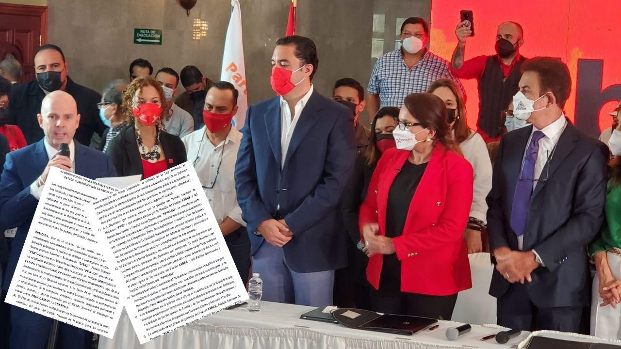 Este es el acuerdo político de la  alianza entre Libre, Pinu y el Partido Salvador de Honduras