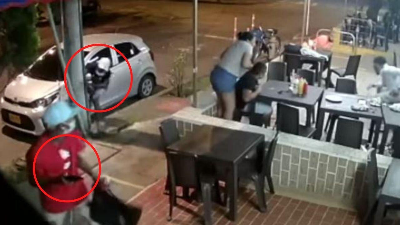 Delincuentes salen corriendo luego que les dispararan desde adentro de un negocio donde intentaban asaltar a los clientes