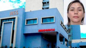 imagen de las instalaciones del IHSS con collage de foto de empresaria hondureña