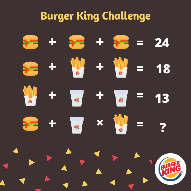 acertijo matemático Burger King